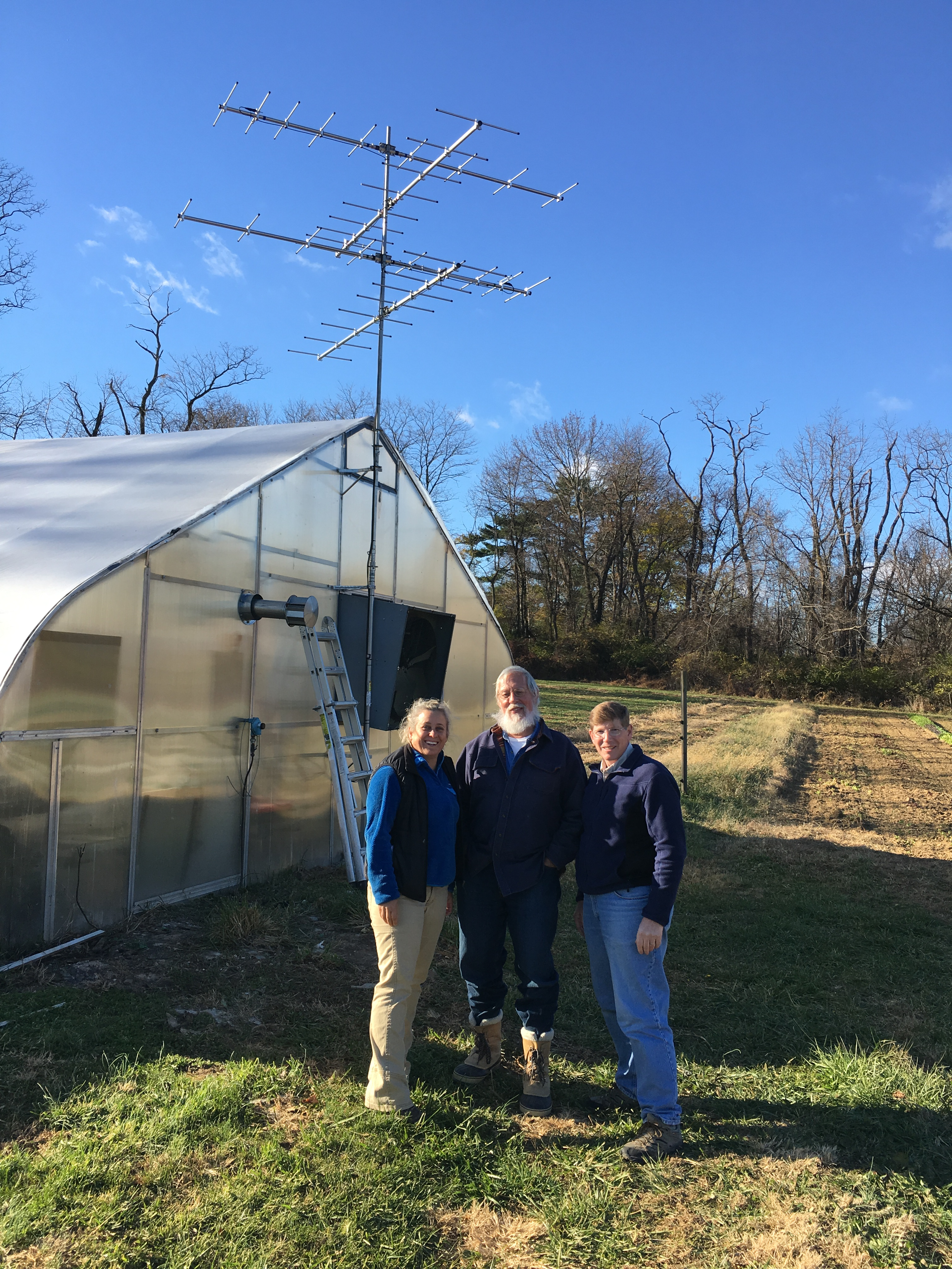 Motus tower installed at greenhouse at Rushton Woods Preserve.